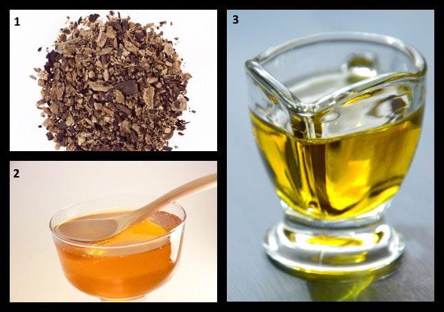 корни окопника, мед, растительное масло