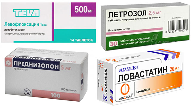препараты Левофлоксацин, Преднизолон, Ловастатин и Летрозол