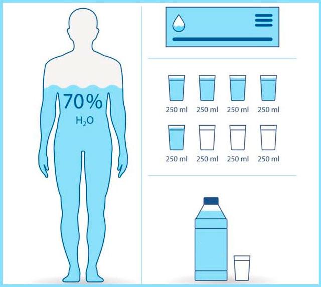 необходимое количество воды в сутки рассчитывается индивидуально