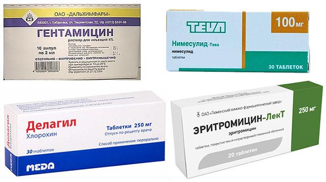 препараты Гентамицин, Нимесулид, Эритромицин, Делагил