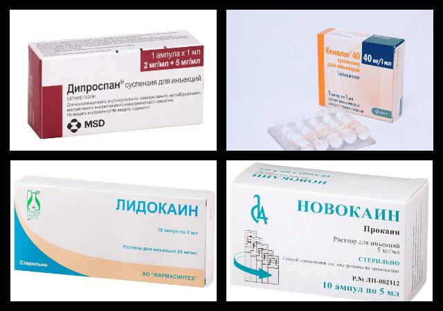 дипроспан, кеналог, лидокаин, новокаин