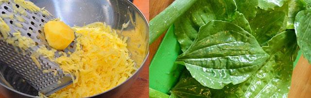картофельная масса и листья подорожника