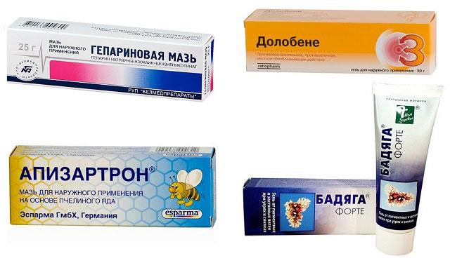 препараты Гепариновая мазь, Долобене, Апизартрон, Бадяга форте