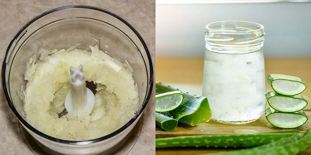 смесь из лука для компресса, приготовление растирки из сока алоэ, масел и ментола