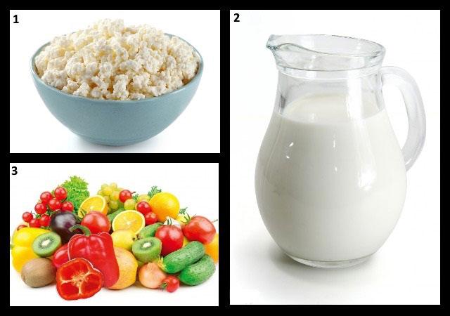 продукты для разгрузочных дней – творог, кефир, фрукты и овощи