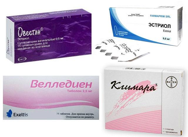 эстрогенные препараты Овестин, Велледиен, Климара, Эстриол