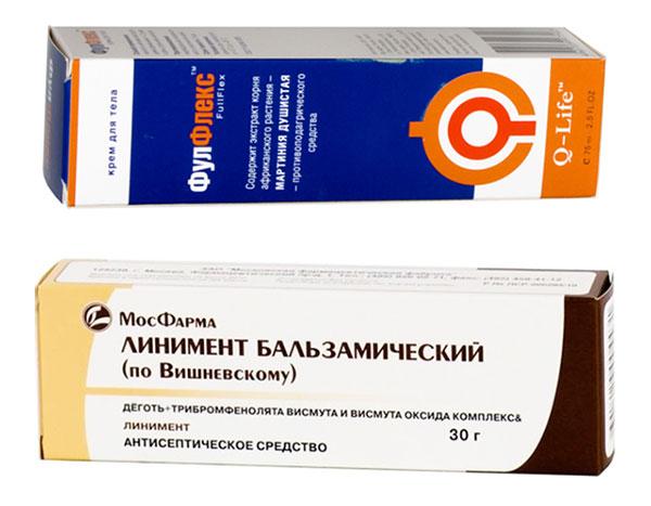 аптечные мази Фулфлекс и Вишневского для профилактики подагры