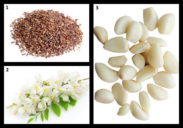 березовые почки, чеснок, цветы белой акации